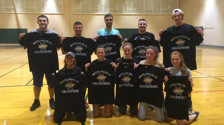 Car Ramrod defeated the Ugly Pucklings 5-3 in the co-rec division of floor hockey to be crowned champions. Photo provided by Mic-Anthony Hay