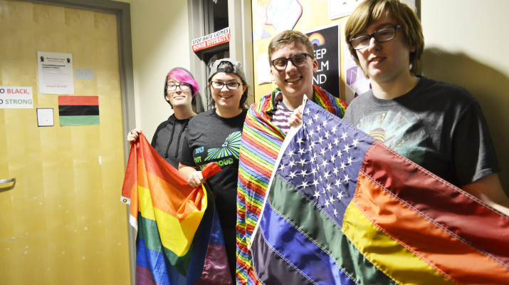 Pride Alliance E-board members from left: Sam Giguere, Berenson, Ryan Smith and Mason Lechner.  Taylor Woods | The Oswegonian