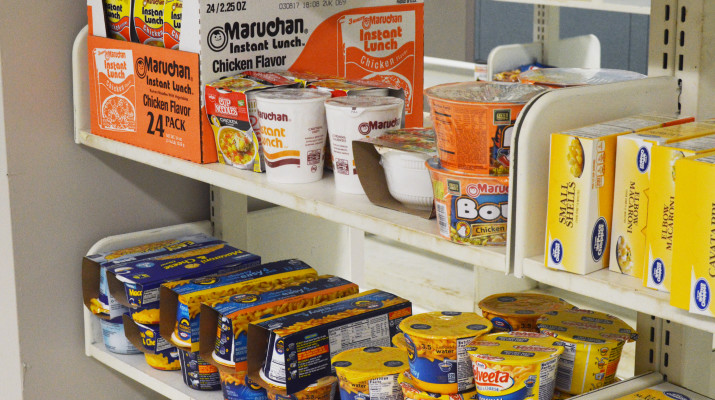 Dry food items are kept in the new food pantry, along with clothing items, all available to students. (Alexandria Donato | The Oswegonian)