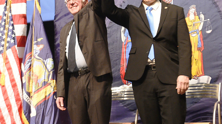 January 3, 2017- Queens- Governor Andrew M. Cuomo, with U.S. Senator Bernie Sanders of Vermont, today unveiled the 1st signature proposal of his 2017 agenda: making college tuition-free for New Yorkís middle-class families at all SUNY and CUNY two- and four-year colleges. New Yorkís tuition-free college degree program, the Excelsior Scholarship, is the first of its kind in the nation and will help alleviate the crushing burden of student debt while enabling thousands of bright young students to realize their dream of higher education. Under this groundbreaking proposal, more than 940,000 middle-class families and individuals making up to $125,000 per year would qualify to attend college tuition-free at all public universities in New York State. The Excelsior Scholarship program will ensure that students statewide, regardless of their socio-economic status, have the opportunity to receive a quality education and gain the skills they need to succeed in our global economy. (Kevin P. Coughlin/Office of Governor Andrew M. Cuomo)