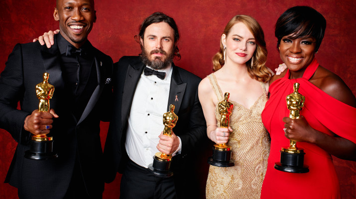 Left to right: Mahershala Ali, Casey Affleck, Emma Stone and Viola Davis hold their statues for their respective Best Actor and Actress awards.       Photo provided by oscars.org
