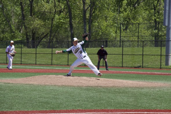 Senor reliever John-Michael Guarino went 2.2 innings in relief of transfer-junior Mitch Cavanagh for the Lakers, allowing just one run and striking out four. (Cole Parzych | The Oswegonian)