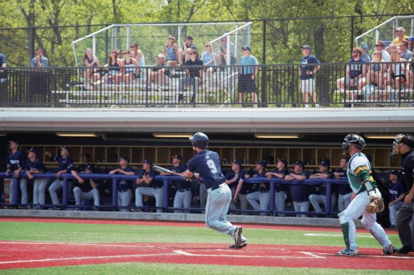 Sam Little hit his team-leading seventh home run of the season in Ithaca College's 11-10 loss to Oswego State. (Cole Parzych | The Oswegonian)